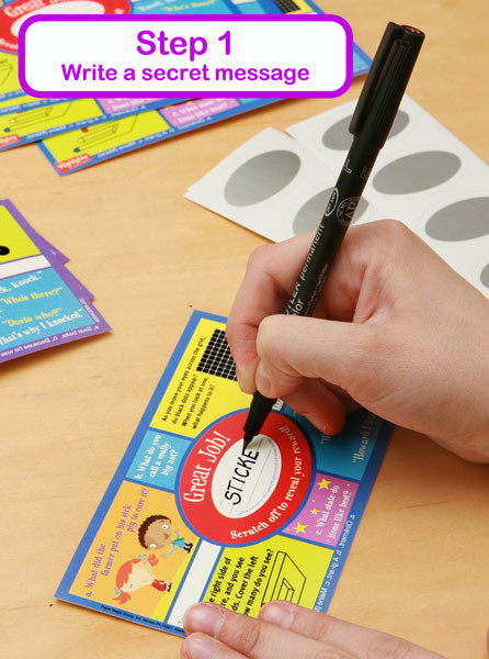 scratch off stickers step 1 write your secret message