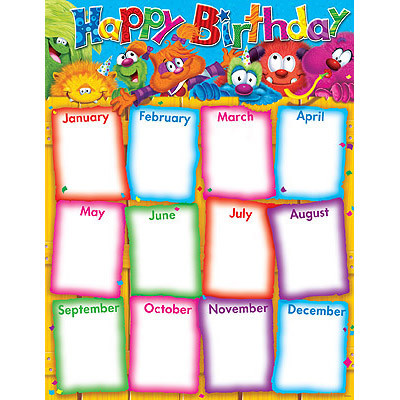 birthday chart template for classroom - school posters charts cute birthday record chart free