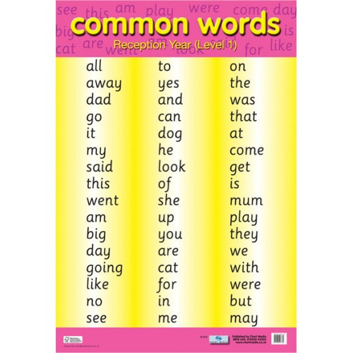 School Educational Posters | Common Words (Level 1) Literacy Chart ...