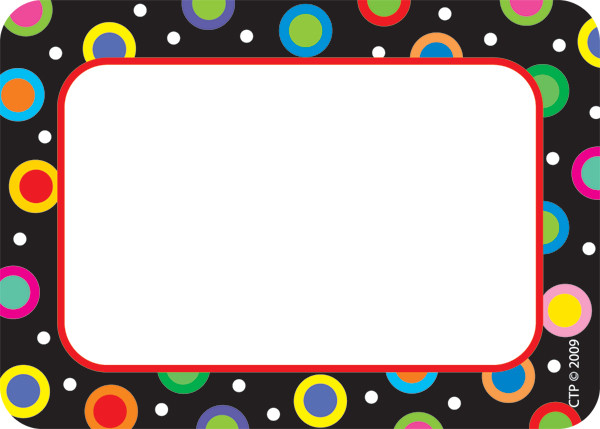 Name Label Badges Stickers Dots On Black Design Badges