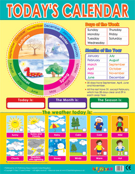 Wall Posters | Today's Calendar Chart for the Classroom. Free Delivery