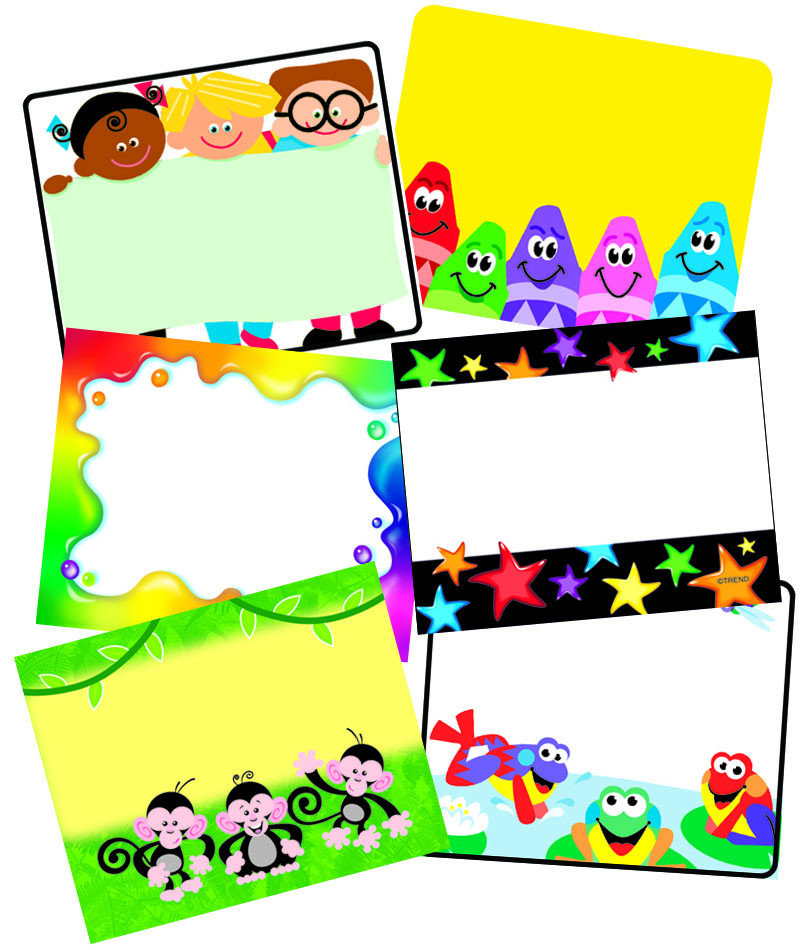 colourful name label stickers