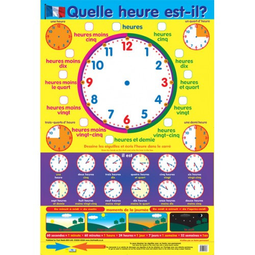 Educational Posters | French What's the Time Poster. Free Delivery