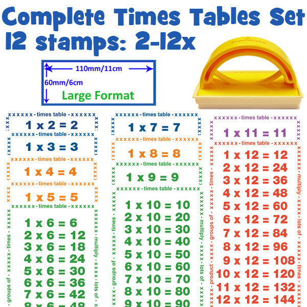 School Stamps | Full Times Tables Maths 12 Stamp Set- Large Format ...