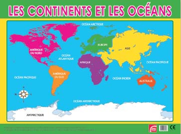 Posters | Les continents et les océans Poster French. Free delivery
