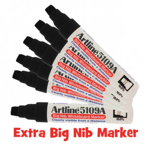 Whiteboard Markers | Big Nib - Value Pack x 6 Black