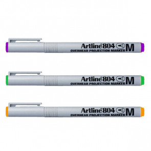 OHP Pens | Artline EK-804 - Orange, Purple, Green Pen Set