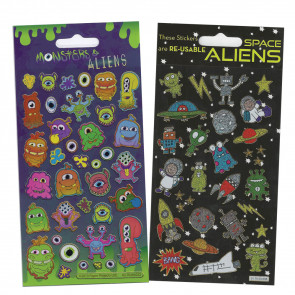 Premium Kids Stickers | Space and Monster Alien Kids Stickers -  2 Pack Stickers Set