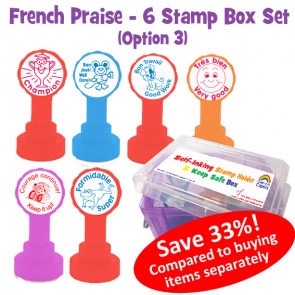 Teacher Stamp Box | French Marking Self-Inking Stamps in a Handy Transportation and Storage Box (Set 3)