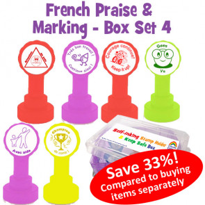 Teacher Stamp Box   French Teacher Stamps in a Handy Transportation and Storage Box