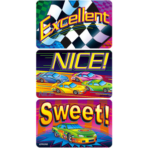 Racing to Success Sticker Badges for kids