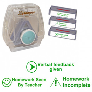 Xstamper Twist 'n Stamp Set: Homework Incomplete / Seen By Teacher / Verbal feedback given