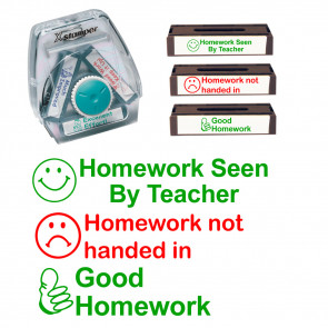 Teacher Stamps | Homework Not Handed In, Homework Seen By Teacher, Good Homework Xstamper 3-in-1 set