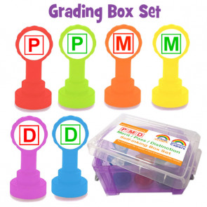 School Stamps | P -Pass, M -Merit, D -Distinction Colour Coded Teacher Stamps