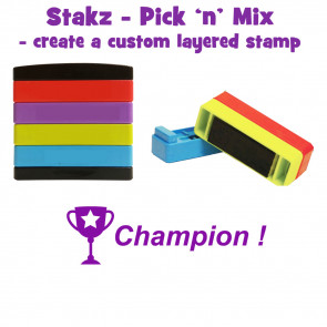 Teacher Stamps | Champion ! Pick'n'Mix Stakz Layered French Multistamp