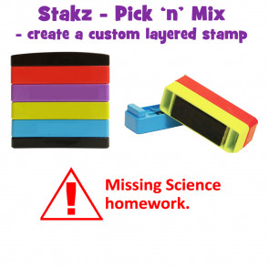Teacher Stamps | Missing science homework. Pick'n'Mix Stakz Layered Multistamp