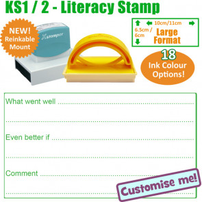 Teacher Stamp | Large Stamp With Lined areas for What Went Well, Even Better If and Teacher Comment