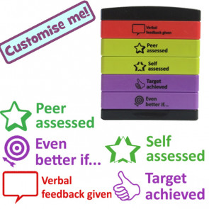Teacher Stamps | 5-in-1 Feedback Marking Stamp - Verbal feedback given, Self / Peer Assessed, Even better if, Target achieved