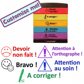 Devoir non fait, A corriger, Bravo, Attention au soin, Attention à l'orthographe French Teacher Stamp.