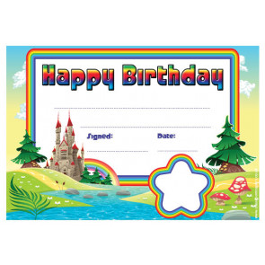 Personalised Certificates & Awards for Schools | Rainbow Castle Happy Birthday Certificate - School logo custom option