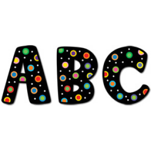 Stick-On Upper Case Letters | Dots on Black School Stickers