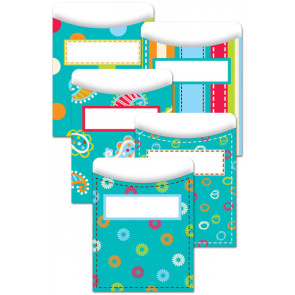 Classroom Organisation Resources | Library Pockets - Dots on Turquoise
