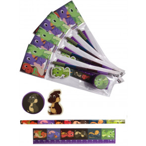 Gifts for Kids | 4 x Dinosaur Stationery Set. Low Cost Class Gift / Party Bag Filler.
