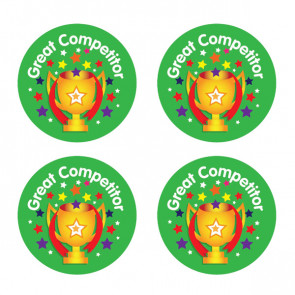 Kids Stickers   Great Competitor Trophy Design Sports Stickers