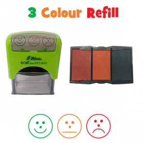 Teacher Stamps | 3 Colour Ink Refill Pad - 3 Faces Assessment Stamp