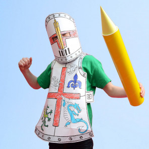 Colouring in For Kids | Eggnog Colour In Fancy Dress Outfit - Knight Design