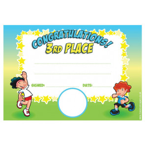 Personalised Certificates & Awards for Schools | Sports Day 3rd Place Award - School logo custom option