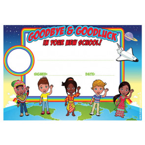 Personalised Certificates & Awards for Schools | Goodbye and Goodluck in your New School Certificate - School logo custom option