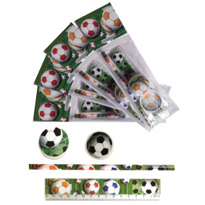 Gifts for Kids | 4 x Football Stationery Set. Low Cost Class Gift / Party Bag Filler