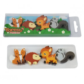 Animal Erasers | Fox, Hedgehog, Squirrel, Deer - 4 Eraser Presentation Pack