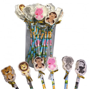 Low Cost Gifts | Bulk Pack 24 Jungle Friends Animal Pencils with Topper Erasers