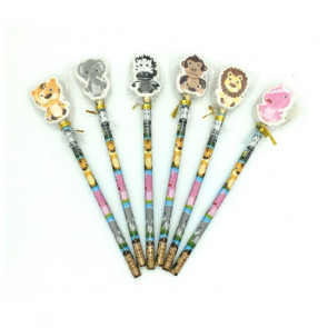 Low Cost Gifts | Cute Jungle Friends Pencils with Topper Erasers