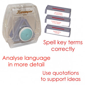 Xstamper 3-in-1 Stamp Set: Analyse language in more detail, Use quotations to support your ideas,  Spell key terms correctly