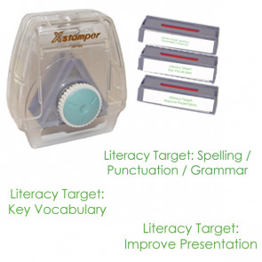 School Stamps | 3-in-1 Teacher Literacy Stamp Set. Green ink