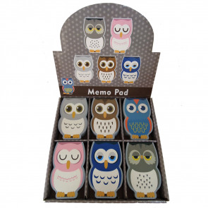 Bulk Stationery | Shaped Owl Notepads/Memos.  Low Cost Stationery