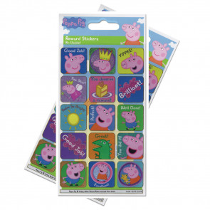 Premium Kids Stickers | Peppa Pig Re-usable Large Reward Stickers - 2 Packs