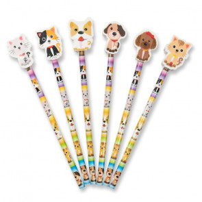 Low Cost Gifts | Cute Pets Pencils with Topper Erasers