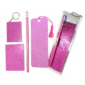 Low Cost Gifts | Pink Glitter Stationery Gift Set-5 Pieces