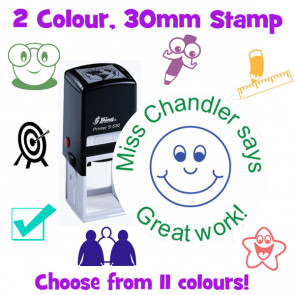 Teacher Stamps   Two Colour, 30mm Self-inking Stamper.