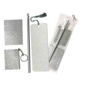 Low Cost Gifts | Silver Glitter Stationery Gift Set-5 Pieces