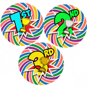 School Stickers | First, Second, Third Place Sports Day Stickers - Packs 105, 35mm