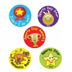 Sports Day Kids Stickers - Praise Words for Everyone!