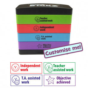 Teacher Stamps | 4-in-1 Marking Self-Inking Stamp Stack