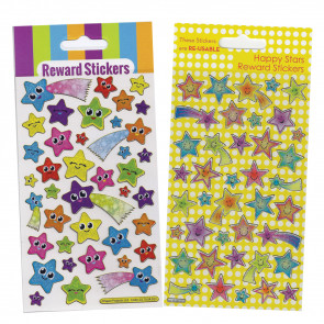Premium Kids Stickers | Smiley Stars & Shooting Stars -  2 Pack Stickers Set