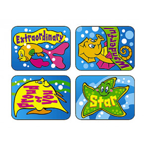 Children's Reward Stickers | Fish Fun Praise Words for Children