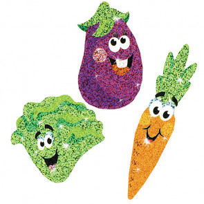 Childrens Stickers | Vegetable Friends - Food Sparkle Stickers ideal as teacher rewards